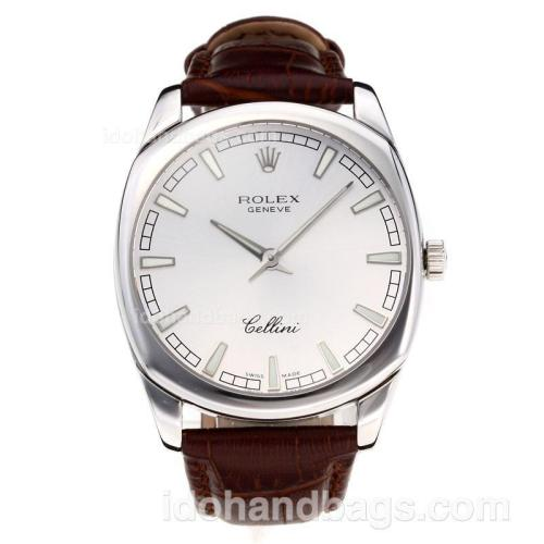 Rolex Cellini Luminous Swiss ETA Movement with Silver Dial-Leather Strap-Sapphire Glass 194522