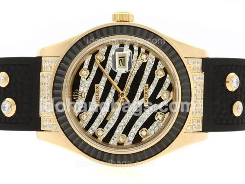 Rolex Datejust Automatic Gold Case Diamond Marking with Black Ruby Bezel-Royal Black Design Diamond Crested Dial 36662