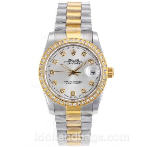 Rolex Datejust Automatic Two Tone Diamond Marking and Bezel with Silver Dial-Sapphire Glass 72735