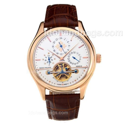 Patek Philippe Automatic Tourbillon Rose Gold Case with White Dial-Leather Strap 202582
