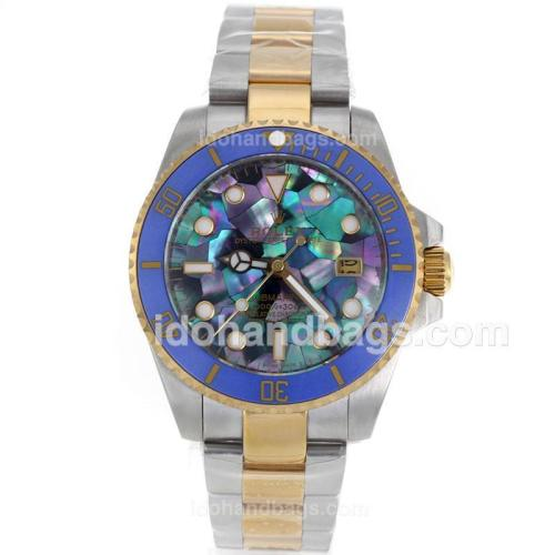 Rolex Submarier Automatic Two Tone Blue Ceramic Bezel with Puzzle Style MOP Dial-Dome Sapphire Glass 119220