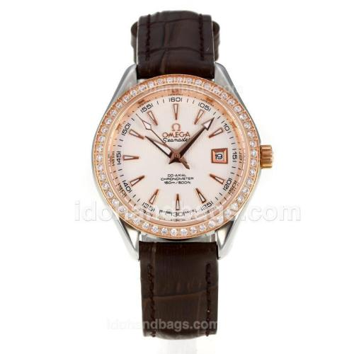 Omega Seamaster Rose Gold Case Diamond Bezel with White Dial-Leather Strap-Sapphire Glass 173654