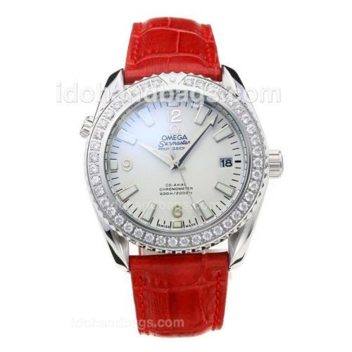 Omega Seamaster Diamond Bezel with White Dial-Red Leather Strap 182964