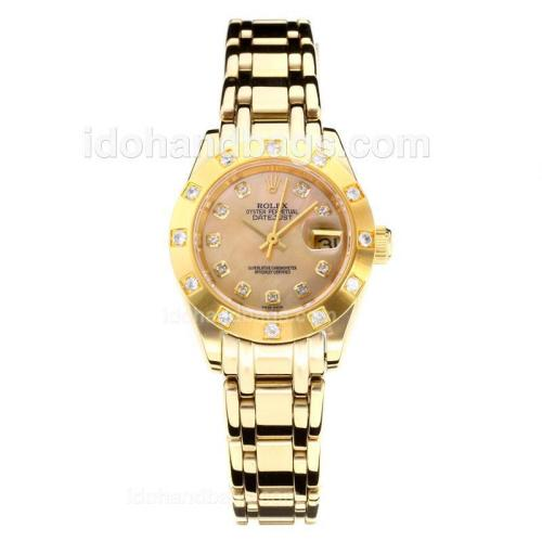 Rolex Masterpiece Automatic Full Gold Diamond Bezel with Apricot MOP Dial-Same Chassis as ETA Version 177138