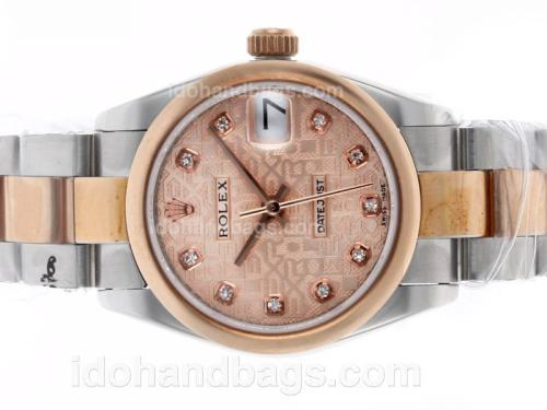 Rolex Datejust Automatic Two Tone Diamond Markers with Champagne Computer Dial-Same Structure as ETA Version-Mid Size 46139