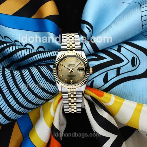 Rolex Datejust Automatic Two Tone with Golden Dial-Sapphire Glass(Gift Box & Extra Strap are Included) 138532