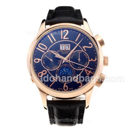 Patek Philippe Automatic Rose Gold Case with Black Dial-Leather Strap-Number Markers 204182