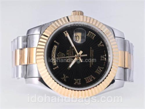 Rolex Day-Date II Automatic Two Tone Roman Marking with Black Dial-41mm New Version 25407
