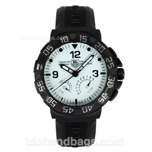 Tag Heuer Formula 1 Flyback Function Working Automatic PVD Case with White Dial-Rubber Strap 111696