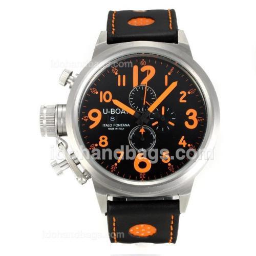 U-Boat Italo Fontana Working Chronograph with Black Dial-Orange Markers 165336