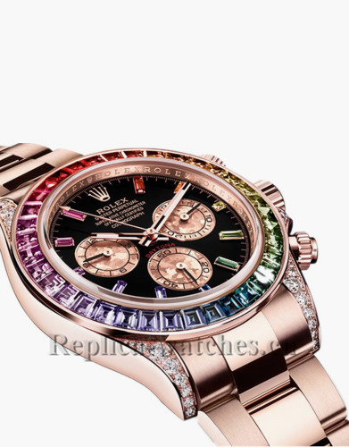 2018 Rolex Daytona Rainbow Crystals Bezel Black Dial Replica Watch