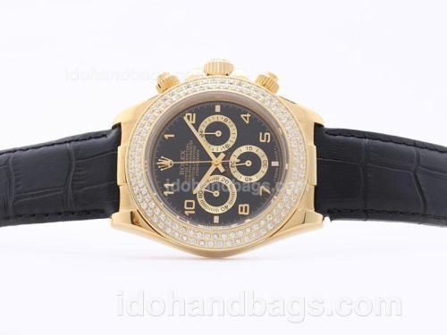 Rolex Daytona Working Chronograph Golden Case Black Dial with Arabic Numerals-Diamond Bezel 29866