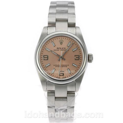 Rolex Air-King Oyster Perpetual Swiss ETA 2836 Movement with Champagne Dial S/S-Mid Size 71750