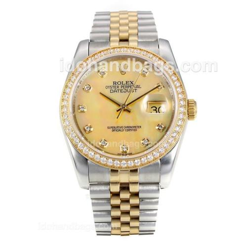 Rolex Datejust Automatic Two Tone Diamond Bezel with MOP Dial-Same Chassis as ETA Version 175902