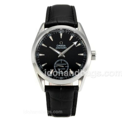 Omega Seamaster Automatic with Black Dial-Leather Strap 164008