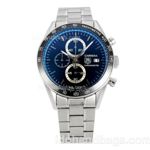 Tag Heuer Carrera Working Chronograph Ceramic Bezel with Black Dial S/S-Blue Innner Bezel 149060