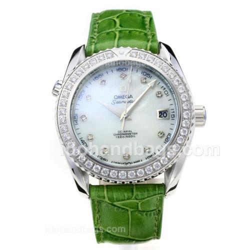Omega Seamaster Diamond Bezel with White Dial-Green Leather Strap 182962