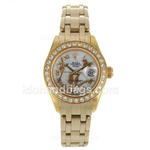 Rolex Masterpiece Swiss ETA 2671 Movement Full Gold Diamond Bezel Roman Markers with White MOP Dial-Flowers Illustration 116236