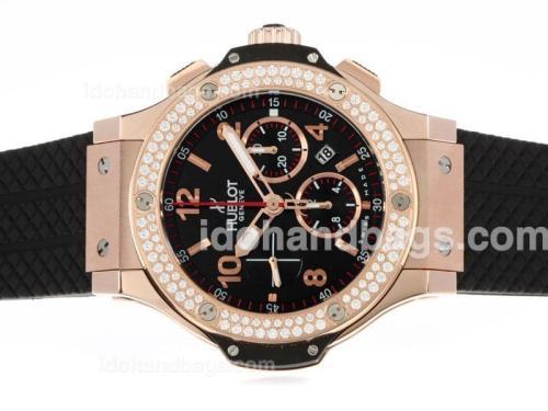 Hublot Big Bang Chronograph Swiss Valjoux 7750 Movement Rose Gold Case Diamond Bezel with Black Dial 41551