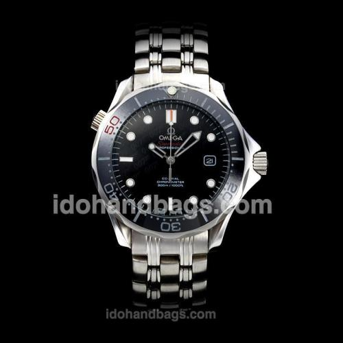 Omega Seamaster James Bond 007 50th Anniversary Automatic Ceramic Bezel with Black Dial S/S-Limited Edition(Gift Box is Included) 176758