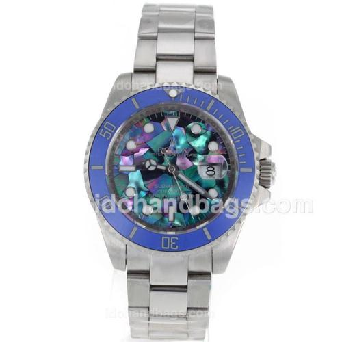 Rolex Submariner Automatic Blue Ceramic Bezel with Puzzle Style MOP Dial S/S-Sapphire Glass 119080