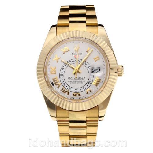 Rolex Sky Dweller Swiss ETA 2836 Movement Full Yellow Gold with White Dial-Sapphire Glass 195252