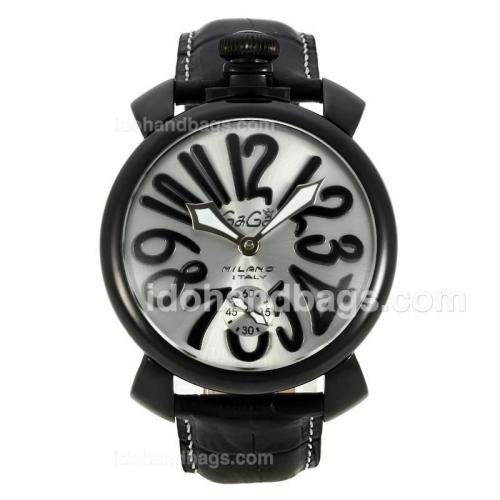 Gaga Milano Unitas 6497 Movement PVD Case Number Markers with Silver Dial-Leather Strap 126760
