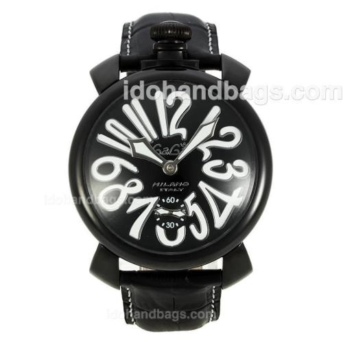 Gaga Milano Unitas 6497 Movement PVD Case Number Markers with Black Dial-Leather Strap 126762