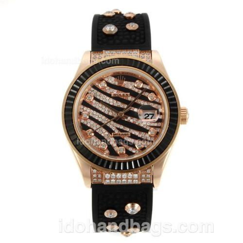 Rolex Datejust Automatic Rose Gold Case Diamond Marking with Black Ruby Bezel-Royal Black Design Diamond Crested Dial 36638