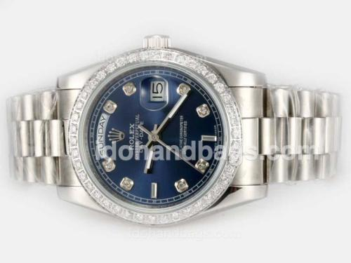 Rolex Day-Date Automatic Diamond Marking and Bezel with Blue Dial 21434
