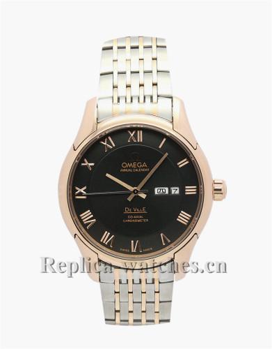 Omega De Ville Hour Vision Gold Bezel Black Dial 41MM