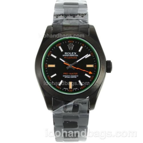 Rolex Milgauss Swiss ETA 3135 Movement Full PVD with White/Orange Markers 40744