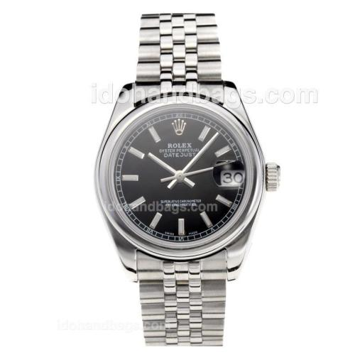Rolex Datejust Swiss ETA 2355 Automatic Movement with Black Dial S/S-Stick Markers-Sapphire Glass 195240