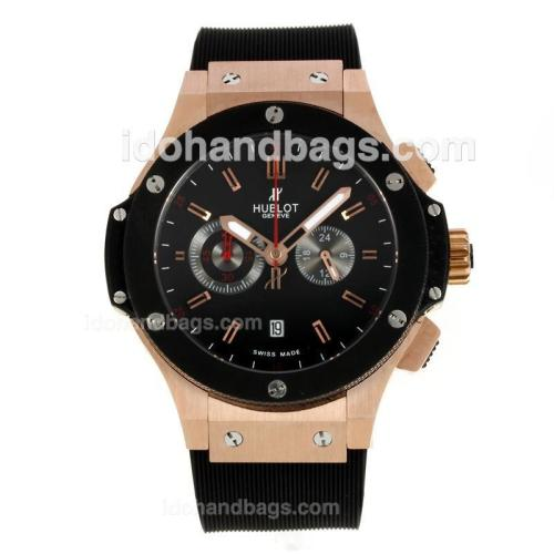 Hublot Big Bang King Working Chronograph Rose Gold Case PVD Bezel with Black Dial-Rubber Strap 146756