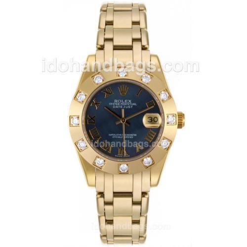 Rolex Masterpiece Swiss ETA 2836 Movement Full Gold Roman Marking with Black MOP Dial Mid Size 87398