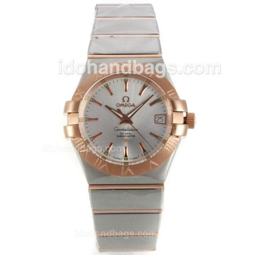 Omega Constellation Swiss ETA 2836 Movement Two Tone with Silver Dial-Stick Markers 139562