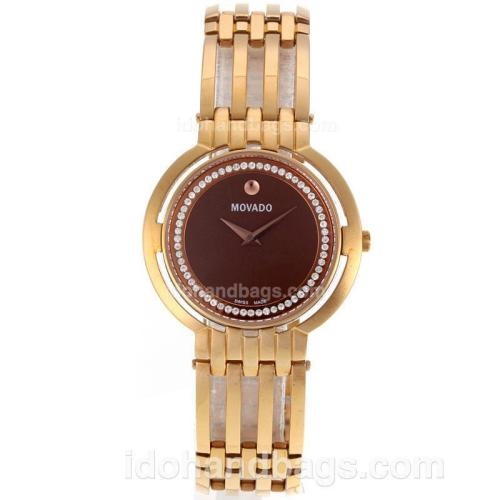 Movado Museum Rose Gold Diamond Inner Bezel with Brown Dial-Sapphire Glass 119144