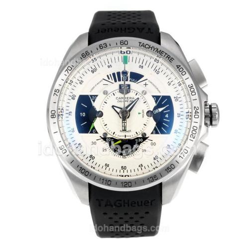 Tag Heuer Grand Carrera Working Chronograph with White Dial-Black Rubber Strap 174568