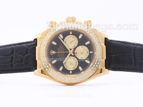 Rolex Daytona Working Chronograph Golden Case Black Dial with Sticker Marking - Diamond Bezel Black Strap 29867