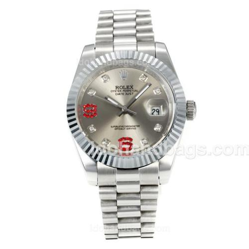 Rolex DateJust II Automatic with Silver Dial S/S-Diamond Markers 167718