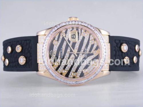 Rolex Royal Black Design Diamond Crested Dial With Gold Case CZ Diamond Bezel -Swiss ETA 2836 Movement 27425