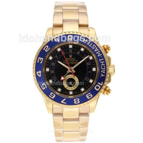 Rolex Yacht-Master II Automatic Working GMT Full Gold with Black Dial-Blue Bezel 10589