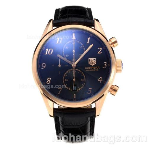 Tag Heuer Carrera Working Chronograph Rose Gold Case with Black Dial-Leather Strap 196702