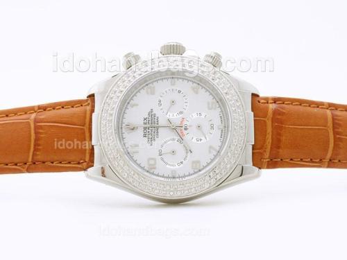 Rolex Daytona Working Chronograph White Dial Arabic Numerals with Diamond Bezel - Brown Strap 29873