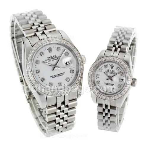Rolex Datejust Automatic Diamond Bezel and Markers with White Dial S/S-Sapphire Glass 116574
