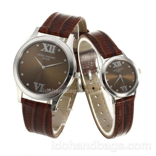 Patek Philippe Classic Diamond Markers with Brown Dial-Sapphire Glass 74355