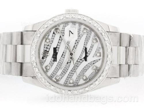 Rolex Datejust Automatic White Diamond Crested Dial with Diamond Bezel & Marking 34458