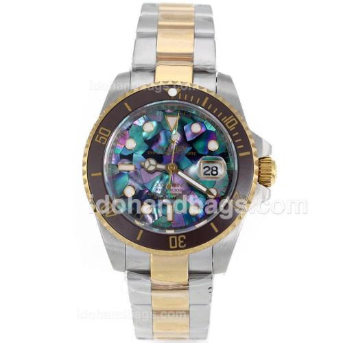 Rolex Submariner Automatic Two Tone Brown Ceramic Bezel with Puzzle Style MOP Dial-Sapphire Glass 119226