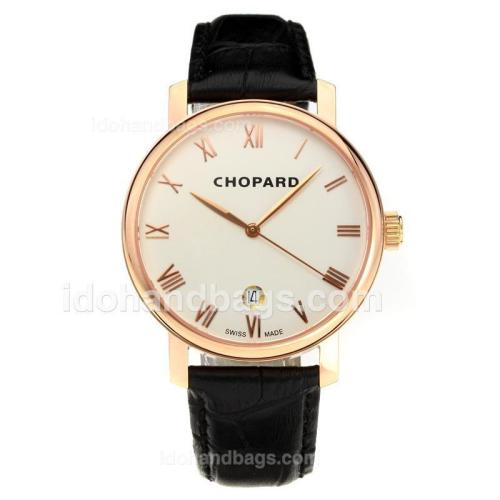 Chopard Classic Swiss ETA 2824 Automatic Rose Gold Case with White Dial-Leather Strap-Sapphire Glass 194340