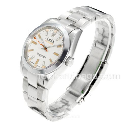 Rolex Milgauss Automatic with White Dial S/S 158468
